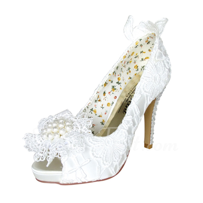 Kadın Satin İnce Topuk Peep Toe Platform Pompalar Ile İmitasyon İnci Yapay elmas Çiçek (047057368)