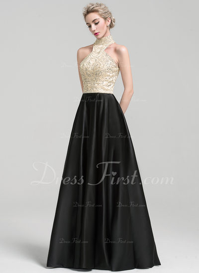 A-Line/Princess High Neck Floor-Length Satin Evening Dress With Beading Sequins (017110477)