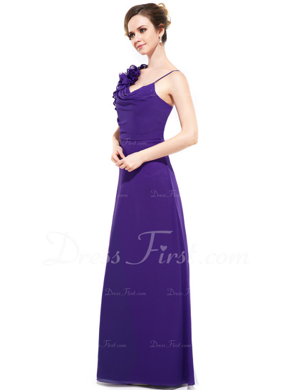 Sheath/Column Cowl Neck Floor-Length Chiffon Bridesmaid Dress With Cascading Ruffles (007050059)