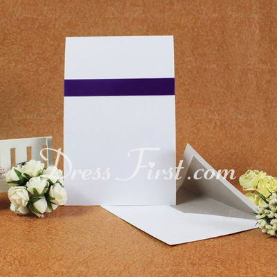 Classic Style Flat Card Invitation Cards With Ribbons (Set of 50) (114030752)