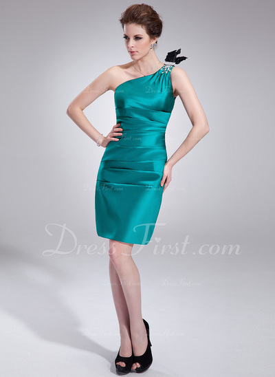 Sheath/Column One-Shoulder Knee-Length Charmeuse Cocktail Dress With Ruffle Beading Feather (016021243)