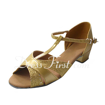 Women's Kids' Sparkling Glitter Patent Leather Sandals Flats Latin With T-Strap Dance Shoes (053013359)