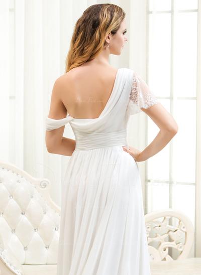 Corte A/Princesa Un sólo hombro Cola corte Chifón Encaje Vestido de novia con Volantes (002054365)