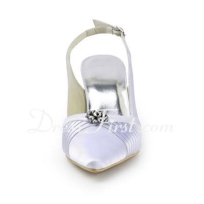Saten İnce Topuk Topuktan Bağlı Bağcıksız Düğün Ayakkabıları Ile Suni Elmas (047011887)