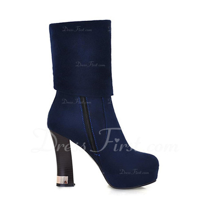 Suede Chunky Heel Ankle Boots With Beading shoes (088056319)