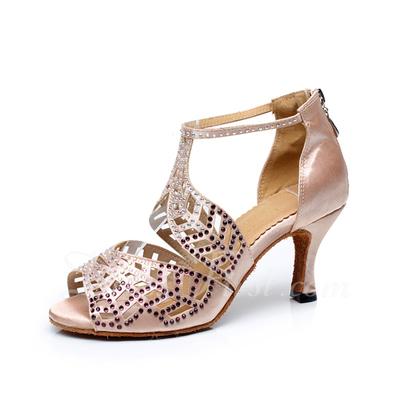 Kadın Satin Topuk Sandalet Latin Ile Yapay elmas Dans Ayakkabıları (053057387)