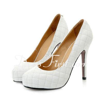 Kadın Suni deri İnce Topuk Kapalı Toe Platform Pompalar (047011916)