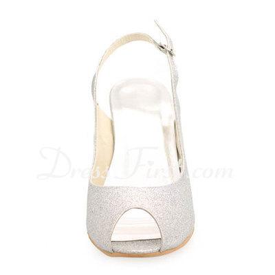 Błyszczącz Brokat Szpilki Z Odkrytym Palcem Bez Pięty Sandały Buty Ślubne (047011896)