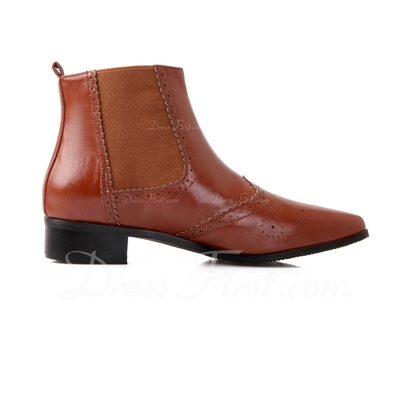 Leatherette Low Heel Pumps Closed Toe Ankle Boots shoes (088055875)