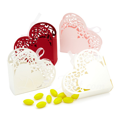 Elegant Heart-shaped Favor Boxes With Ribbons (Set of 12) (050039030)