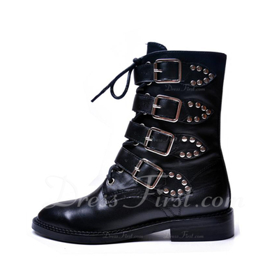Real Leather Low Heel Ankle Boots Martin Boots With Buckle shoes (088057341)