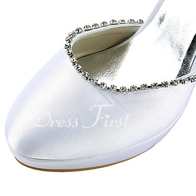 Women's Satin Cone Heel Closed Toe Platform Pumps With Bowknot Rhinestone (047015209)