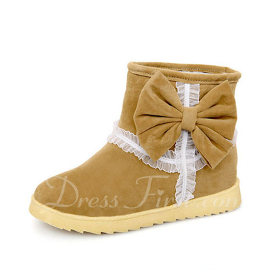 Suede Flat Heel Ankle Boots Snow Boots With Bowknot shoes (088055029)