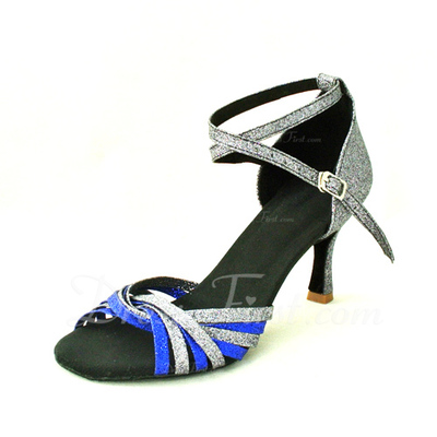 Women's Sparkling Glitter Heels Sandals Latin Ballroom With Ankle Strap Dance Shoes (053012966)