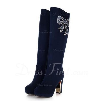 Süet Kalın Topuk Diz Yüksek Boots Ile Yapay elmas ayakkabı (088056330)
