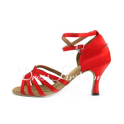 Kadın Saten Topuk Sandalet Latin Ile Ayakkabı Askısı Dans Ayakkabıları (053013523)