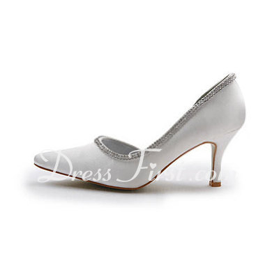 Saten Makara Topuk Kapalı Parmak Bağcıksız Düğün Ayakkabıları Ile Suni Elmas (047011865)