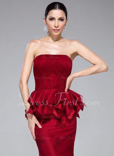 Trumpet/Mermaid Strapless Floor-Length Tulle Evening Dress With Appliques Lace Cascading Ruffles (017050140)