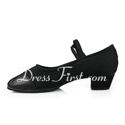 Women's Canvas Leatherette Heels Practice Dance Shoes (053013153)
