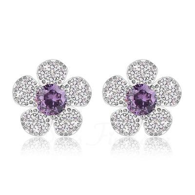 Flower Shaped Zircon/Platinum Plated Ladies' Earrings (011057243)