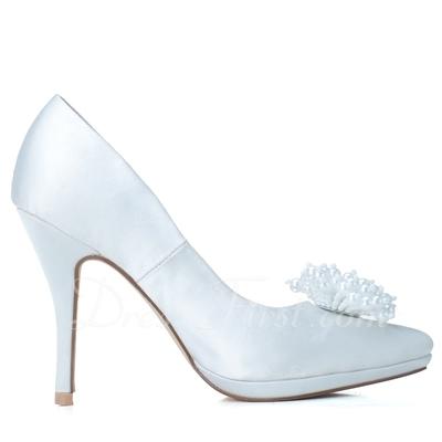 Women's Satin Stiletto Heel Closed Toe Platform Pumps With Imitation Pearl (047057077)