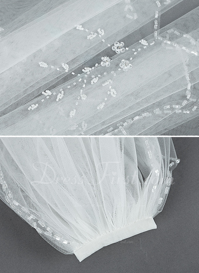 Two-tier Elbow Bridal Veils With Beaded Edge (006034295)