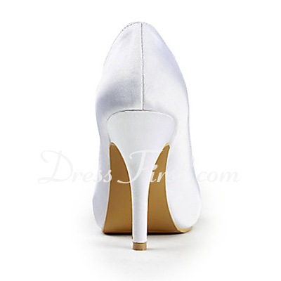 Saten Ince topuk Peep Toe Platform Pompalar Düğün Ayakkabı Ilmek Elmas taklidi (047015271)