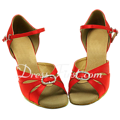 Women's Satin Heels Sandals Latin Ballroom With Rhinestone Dance Shoes (053013179)