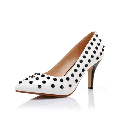 Real Leather Spool Heel Pumps Closed Toe shoes (085054473)
