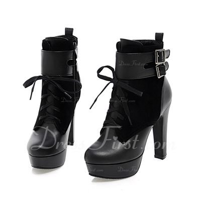 Suede Leatherette Chunky Heel Ankle Boots With Buckle shoes (088057330)