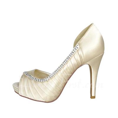 Kadın Satin İnce Topuk Peep Toe Pompalar Ile Yapay elmas (047057125)