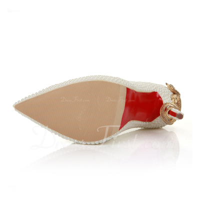 Women's Patent Leather Stiletto Heel Closed Toe Pumps (047057043)