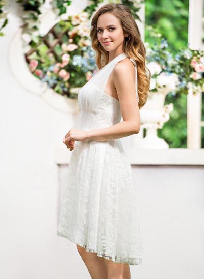 A-Line/Princess Halter Asymmetrical Chiffon Lace Wedding Dress With Bow(s) (002054618)