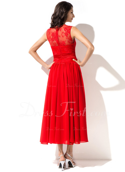 A-Line/Princess Tea-Length Chiffon Lace Homecoming Dress With Beading Flower(s) (007051487)