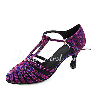 Women's Taffeta Heels Pumps Modern With T-Strap Dance Shoes (053013578)
