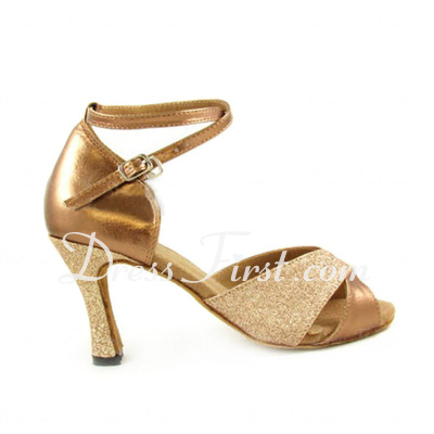 Women's Leatherette Sparkling Glitter Heels Sandals Latin Dance Shoes (053007248)
