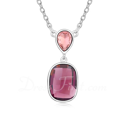 Pretty Alloy/Platinum Plated With Crystal Ladies' Necklaces (011054889)