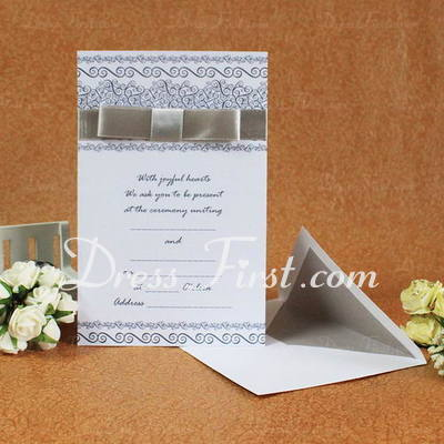 Classic Style Flat Card Invitation Cards With Ribbons (Set of 50) (114030724)