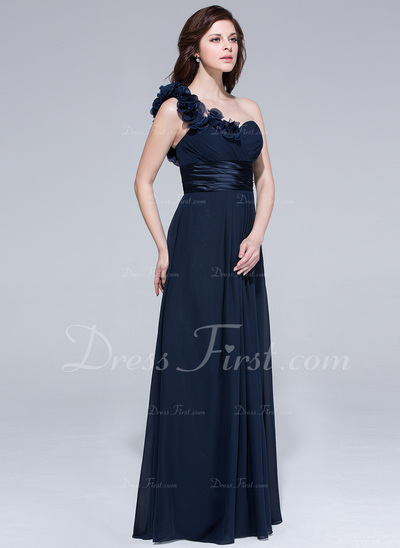 Chiffon One-shoulder Empire Floor-length Bridesmaid Dress With Ruffle Flowers (007037284)