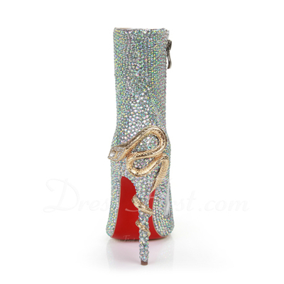 Women's Real Leather Stiletto Heel Closed Toe Pumps (047057046)