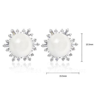 Snowflakes Shaped Pearl/Zircon/Platinum Plated Ladies' Earrings (011057574)