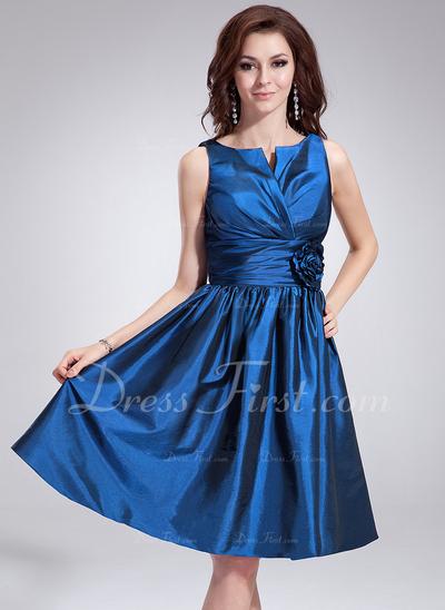 Çan/Prenses V Yaka Diz Hizası Taffeta Kokteyl Elbisesi Ile Büzgü Çiçek(ler) (016008263)