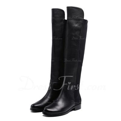 Gerçek Deri Düz Topuk Diz Boots fazla Rain Boots ayakkabı (088057510)
