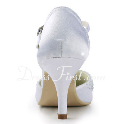 Women's Satin Stiletto Heel Pumps With Rhinestone (047011863)