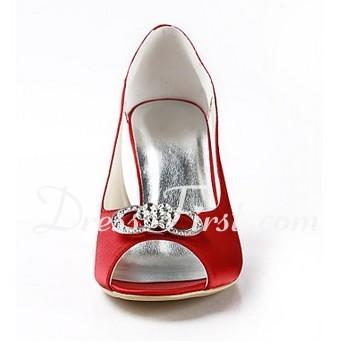 Saten İnce Topuk Burnu Açık Sandalet Ile Suni Elmas Düğün Ayakkabıları ayakkabı (047011841)