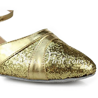 Women's Leatherette Sparkling Glitter Heels Pumps Ballroom With Ankle Strap Dance Shoes (053013200)