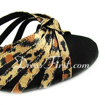 Kadın Saten Topuk Sandalet Latin Ile Ayakkabı Askısı Dans Ayakkabıları (053013527)