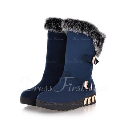 Süet Alçak Topuk Mid-Buzağı Boots Ile Toka ayakkabı (088057271)