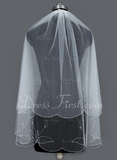 Two-tier Fingertip Bridal Veils With Beaded Edge (006034297)