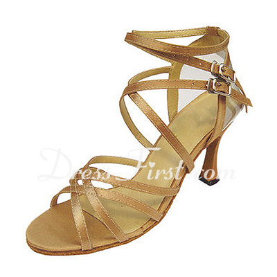 Women's Satin Heels Sandals Latin With Ankle Strap Dance Shoes (053013032)